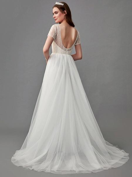 A-Line Wedding Dresses Jewel Neck Sweep \ Brush Train Lace Satin Tulle Short Sleeve 3\4 Length Sleeve Sexy_2