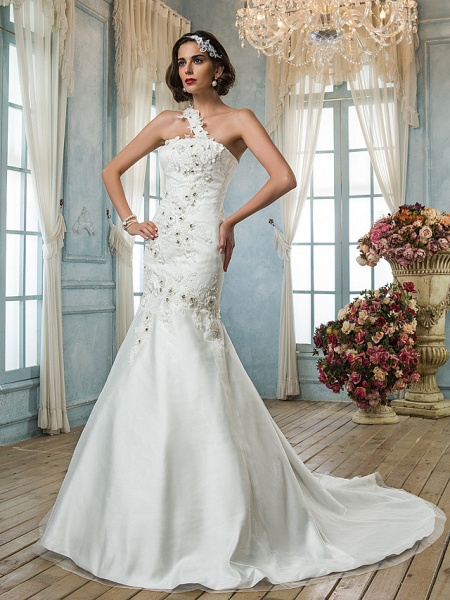 Mermaid \ Trumpet One Shoulder Court Train Tulle Sleeveless Wedding Dresses_4