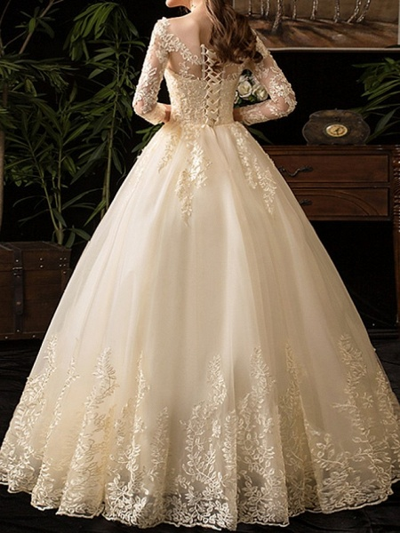 A-Line Wedding Dresses Scoop Neck Floor Length Lace Long Sleeve Glamorous See-Through Illusion Sleeve_4