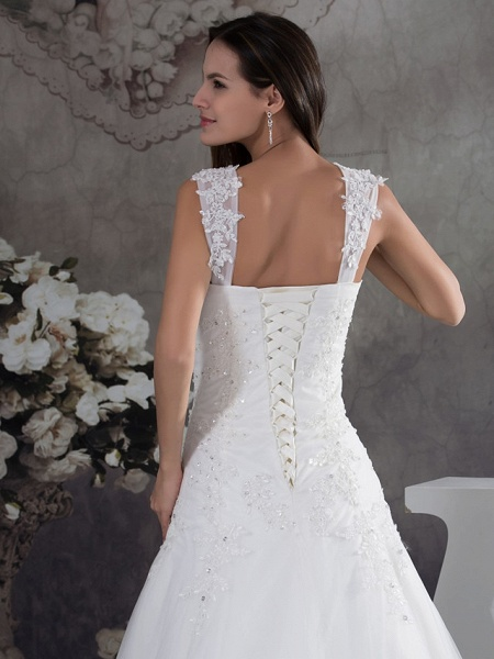A-Line Sweetheart Neckline Chapel Train Lace Tulle Spaghetti Strap Wedding Dresses_5