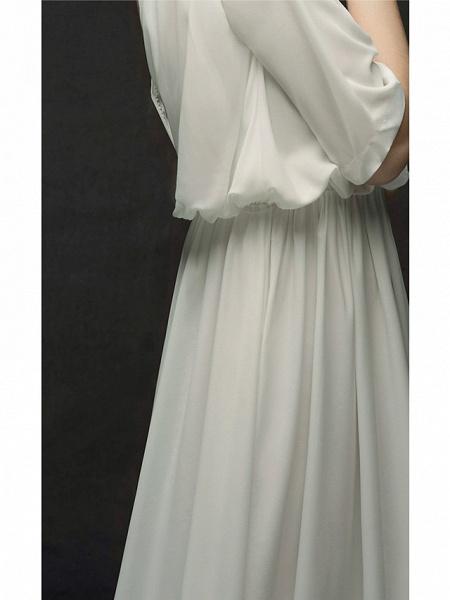 A-Line Wedding Dresses Jewel Neck Sweep \ Brush Train Chiffon Satin Half Sleeve Simple Elegant_10