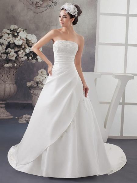 A-Line Strapless Chapel Train Lace Satin Strapless Wedding Dresses_1