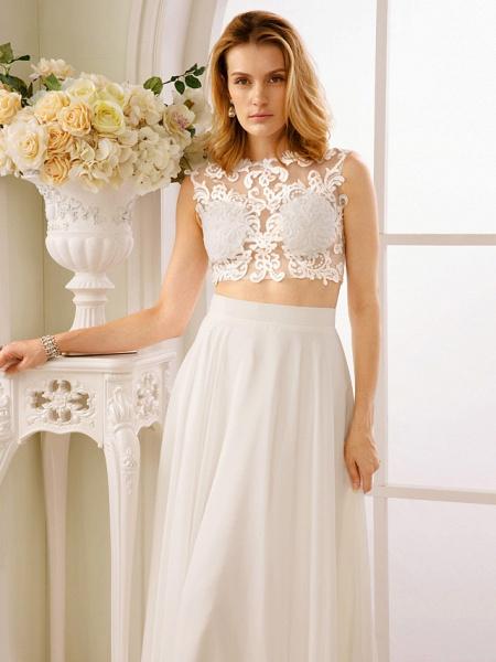 Princess Two Piece Wedding Dresses Jewel Neck Floor Length Chiffon Sleeveless See-Through Beautiful Back Crop Top_6
