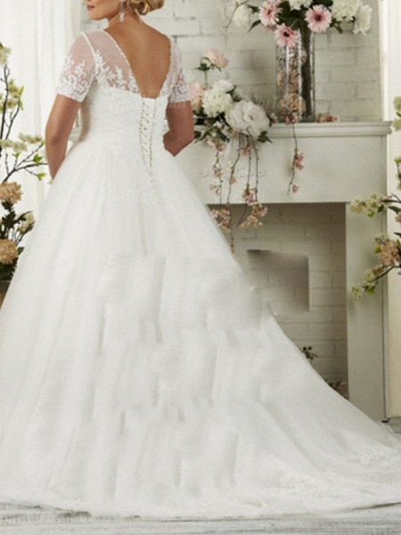 A-Line Wedding Dresses Scoop Neck Sweep \ Brush Train Lace Short Sleeve_2