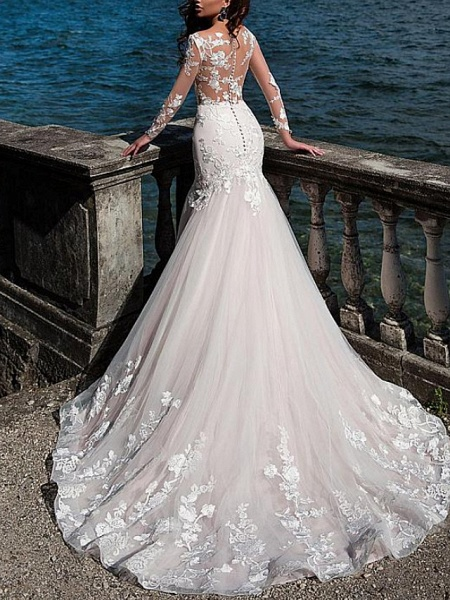Mermaid \ Trumpet Jewel Neck Court Train Lace Tulle Long Sleeve Formal See-Through Wedding Dresses_3