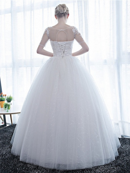 Ball Gown Wedding Dresses Scoop Neck Floor Length Satin Lace Over Tulle Half Sleeve Simple Backless_3