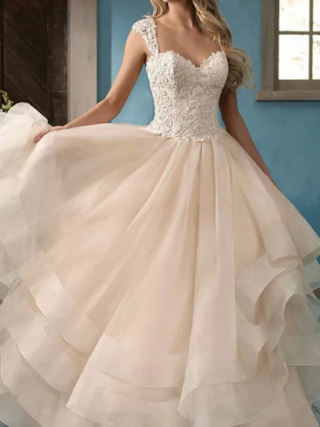 Ball Gown Wedding Dresses Sweetheart Neckline Court Train Lace Satin Tulle Sleeveless Formal_1