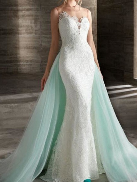 Mermaid \ Trumpet Wedding Dresses Strapless Sweep \ Brush Train Lace Strapless Country Plus Size_1