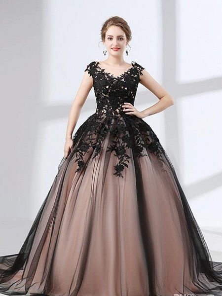 A-Line Wedding Dresses V Neck Chapel Train Lace Tulle Regular Straps Black_1