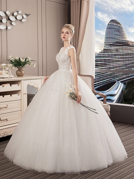 A-Line Wedding Dresses Jewel Neck Floor Length Lace Tulle Polyester Regular Straps Formal Sexy See-Through Illusion Detail_2
