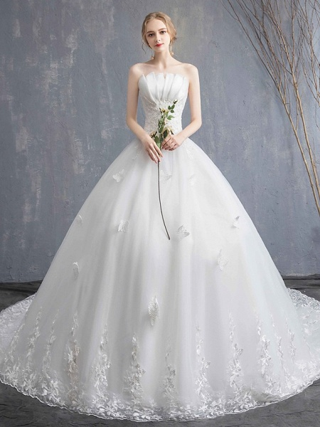 Ball Gown Wedding Dresses Strapless Chapel Train Lace Tulle Lace Over Satin Strapless Formal Vintage Illusion Detail_2