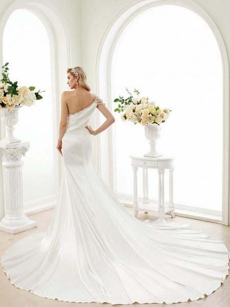 Mermaid \ Trumpet Wedding Dresses One Shoulder Sweep \ Brush Train Stretch Satin Regular Straps Simple Sexy Modern Elegant_2