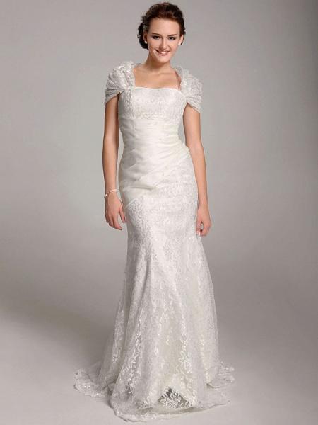 Mermaid \ Trumpet Wedding Dresses Straps Floor Length Lace Short Sleeve See-Through_1