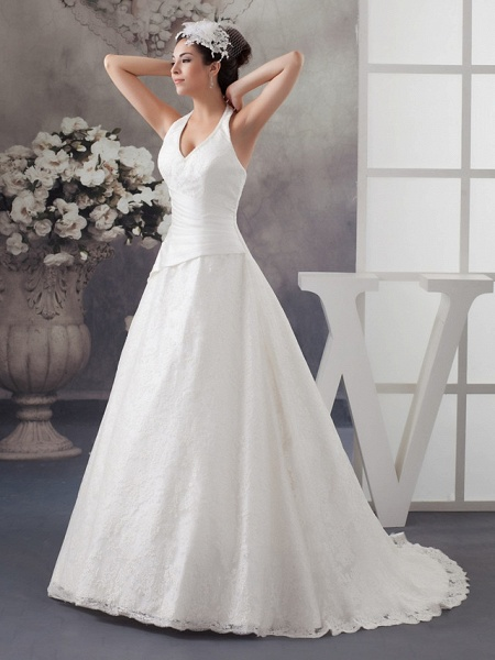 A-Line Halter Neck Court Train Lace Satin Spaghetti Strap Wedding Dresses_2