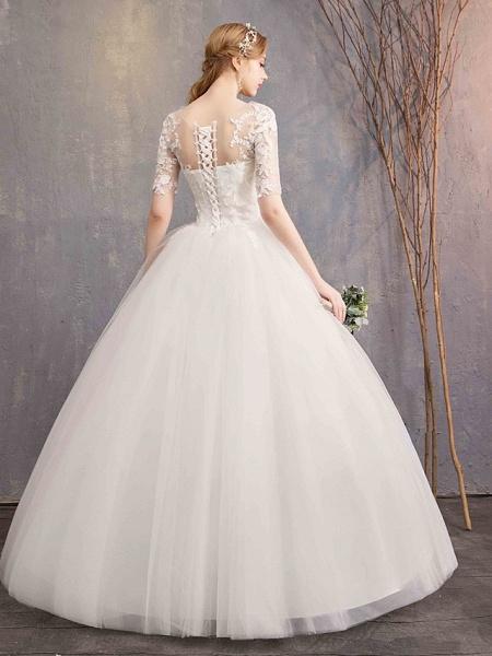 Ball Gown Wedding Dresses Sweetheart Neckline Floor Length Lace Tulle Half Sleeve Glamorous See-Through Illusion Sleeve_4
