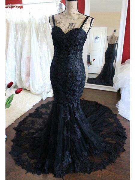Mermaid \ Trumpet Sweetheart Neckline Chapel Train Lace Satin Tulle Spaghetti Strap Black Wedding Dresses_3