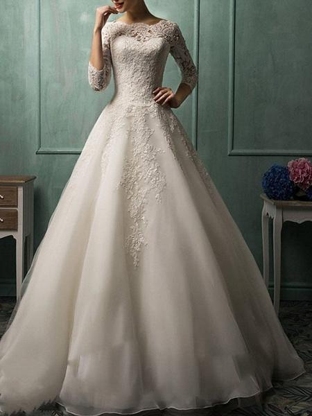 A-Line Wedding Dresses Bateau Neck Court Train Lace 3\4 Length Sleeve Illusion Sleeve_1