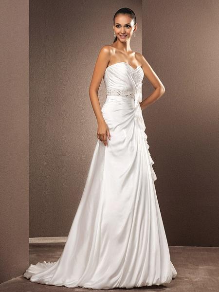 A-Line Wedding Dresses Sweetheart Neckline Court Train Satin Chiffon Strapless_3