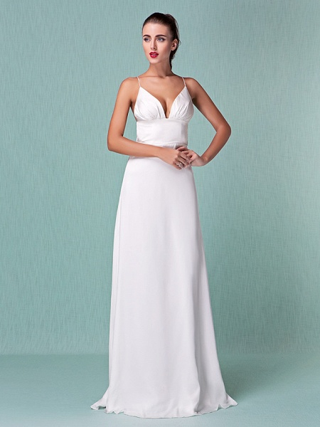 Sheath \ Column Wedding Dresses V Neck Floor Length Chiffon Spaghetti Strap Sexy Backless_10