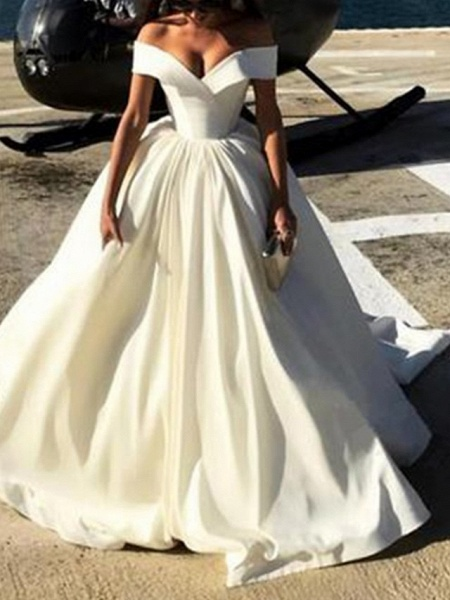 A-Line Wedding Dresses Off Shoulder Court Train Satin Chiffon Over Satin Short Sleeve Sexy_1