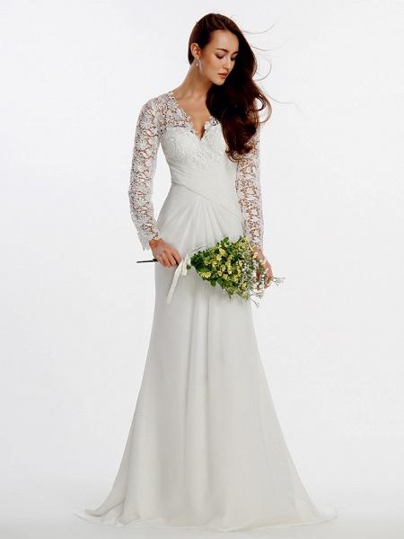Sheath \ Column Wedding Dresses V Neck Sweep \ Brush Train Chiffon Floral Lace Long Sleeve Romantic Boho Little White Dress Illusion Sleeve_3