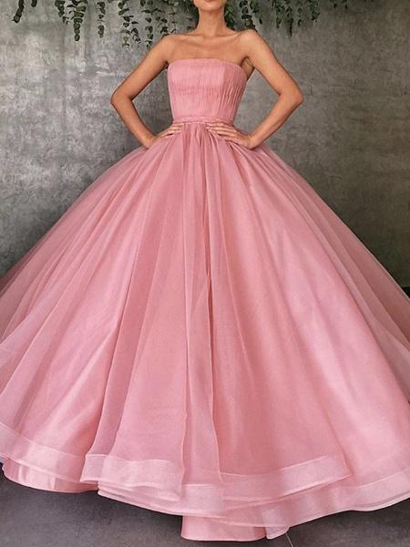 Ball Gown Wedding Dresses Strapless Floor Length Organza Strapless Plus Size Wedding Dress Cute_1