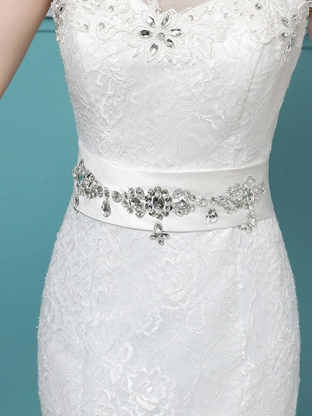 Mermaid \ Trumpet Wedding Dresses Scoop Neck Sweep \ Brush Train Lace Tulle Polyester Sleeveless Romantic Glamorous Sexy_5