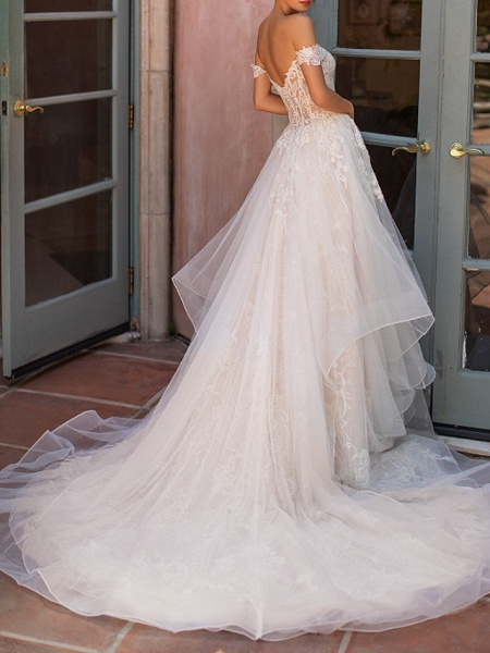 A-Line Strapless Court Train Polyester Short Sleeve Formal Illusion Detail Wedding Dresses_3