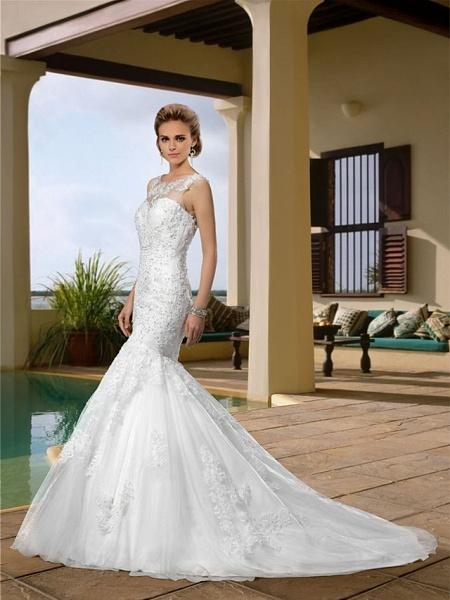 Mermaid \ Trumpet Wedding Dresses Scoop Neck Court Train Lace Regular Straps Country_2