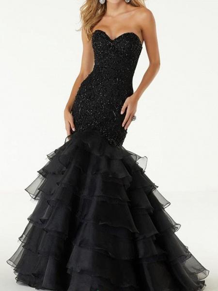 Mermaid \ Trumpet Wedding Dresses Sweetheart Neckline Sweep \ Brush Train Polyester Sleeveless Country Plus Size Black_1