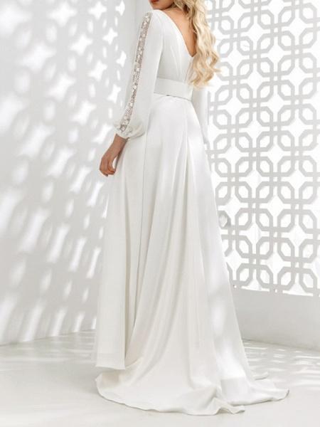 A-Line Wedding Dresses V Neck Floor Length Stretch Satin Long Sleeve Country Plus Size_3
