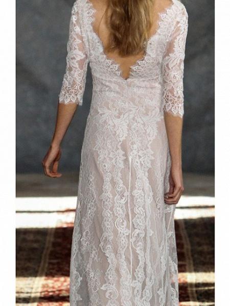 A-Line Wedding Dresses V Neck Floor Length Lace Tulle Half Sleeve Formal Boho Plus Size Illusion Sleeve_3