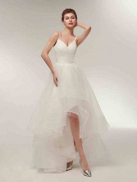 A-Line Wedding Dresses V Neck Asymmetrical Tulle Spaghetti Strap Simple Casual Little White Dress_11