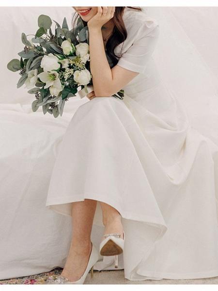 A-Line Wedding Dresses V Neck Sweep \ Brush Train Satin Short Sleeve Cap Sleeve Formal Simple Vintage Plus Size 1950s_2