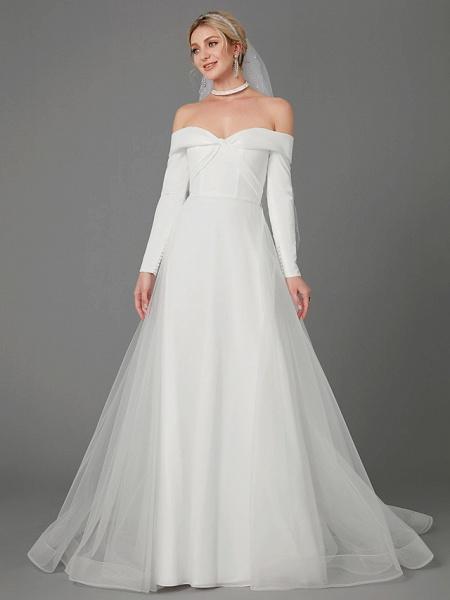A-Line Wedding Dresses Off Shoulder Chapel Train Chiffon Tulle Long Sleeve Sexy_1