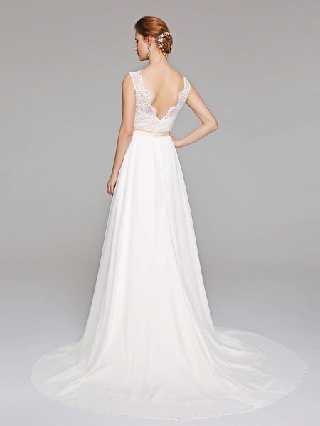 A-Line Wedding Dresses V Neck Court Train Chiffon Lace Bodice Regular Straps Simple Illusion Detail Backless_2