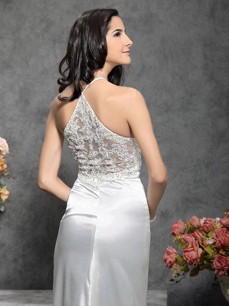 Mermaid \ Trumpet Wedding Dresses Halter Neck Court Train Stretch Satin Sleeveless_7