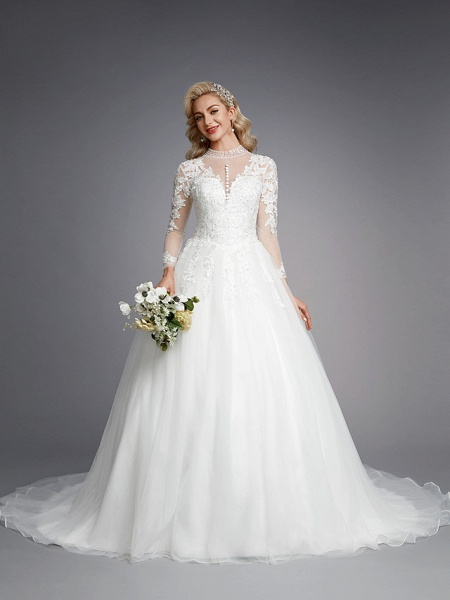 Ball Gown High Neck Court Train Lace Tulle Long Sleeve Romantic Plus Size Illusion Sleeve Wedding Dresses_4