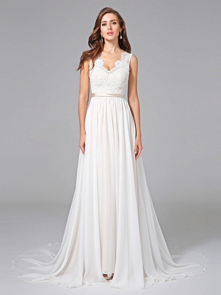 A-Line Wedding Dresses V Neck Court Train Chiffon Lace Regular Straps Romantic See-Through Plus Size Backless_4