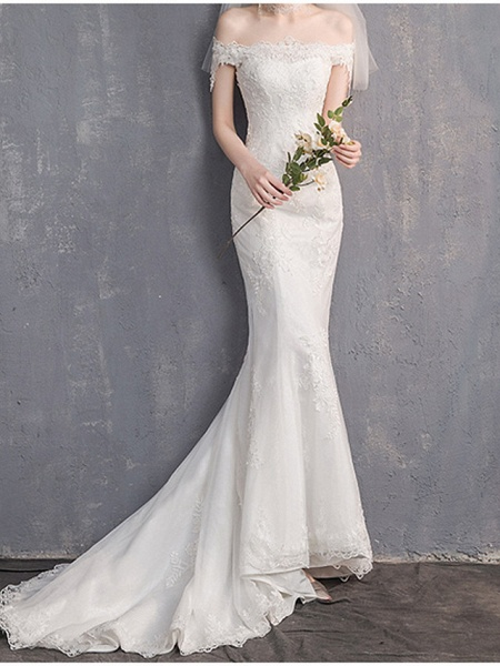 Mermaid \ Trumpet Wedding Dresses Off Shoulder Sweep \ Brush Train Lace Tulle Sleeveless Country Plus Size Backless_3