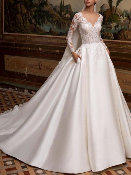 A-Line Wedding Dresses V Neck Court Train Lace Satin Long Sleeve Country Backless Illusion Sleeve_1
