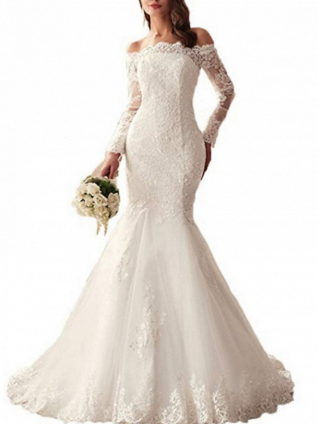 Mermaid \ Trumpet Wedding Dresses Off Shoulder Sweep \ Brush Train Tulle Regular Straps Illusion Sleeve_3