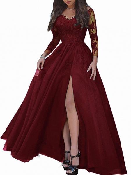 A-Line Wedding Dresses Bateau Neck Sweep \ Brush Train Lace Long Sleeve Formal Black Red_3