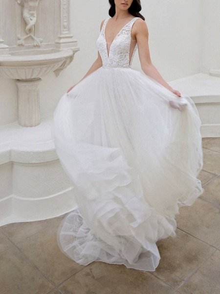 A-Line Wedding Dresses V Neck Court Train Tulle Sleeveless Vintage Sexy Wedding Dress in Color_1