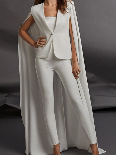 Two Piece Jumpsuits Wedding Dresses Strapless Floor Length Charmeuse Sleeveless Country Plus Size_1