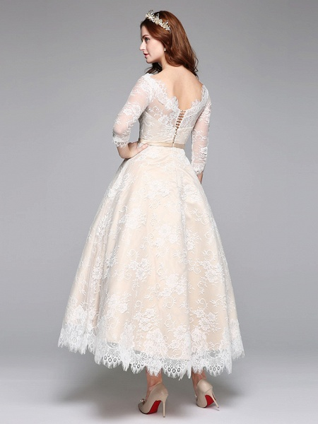 A-Line Wedding Dresses Bateau Neck Ankle Length Lace Over Satin 3\4 Length Sleeve Casual Boho See-Through Cute Illusion Sleeve_5