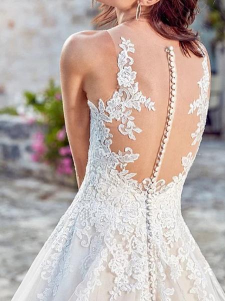A-Line Wedding Dresses V Neck Court Train Lace Tulle Regular Straps_2