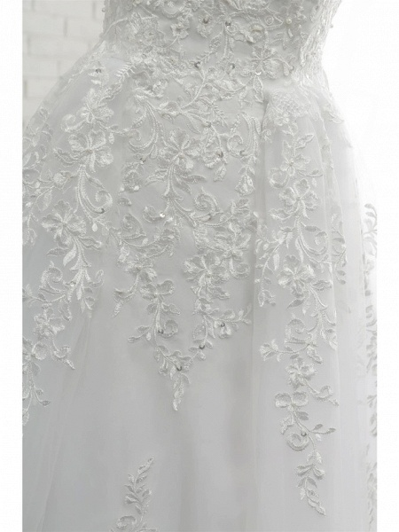 A-Line Wedding Dresses Scoop Neck Court Train Lace Tulle Lace Over Satin Regular Straps Romantic See-Through_9