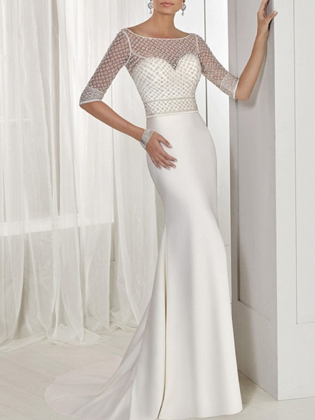 Two Piece A-Line Wedding Dresses Jewel Neck Sweep \ Brush Train Lace Tulle Stretch Satin Half Sleeve Sexy See-Through Backless Cape_1