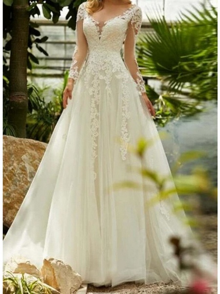 A-Line Wedding Dresses V Neck Sweep \ Brush Train Lace Tulle Long Sleeve Formal_3